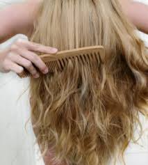 Girl Using A Wooden Comb